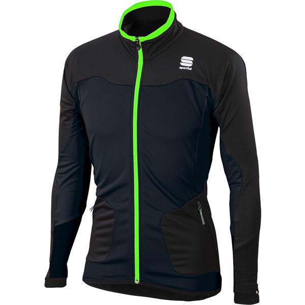 Sportful Apex WindStopper Bunda čierna/fluo zelená