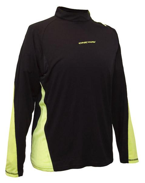 OneWay NIKLAS Tričko s dlhým rukávom, čierne/zelené prvky