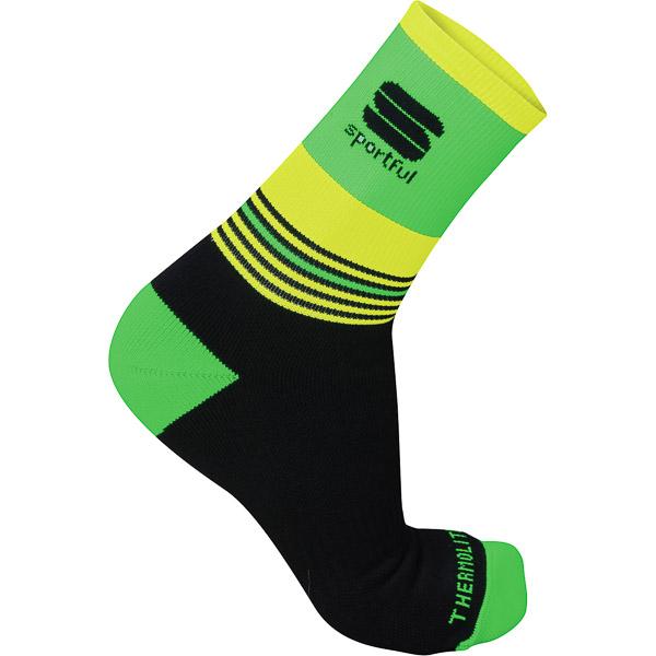 Sportful Arctic 13 Ponožky čierne/fluo zelené