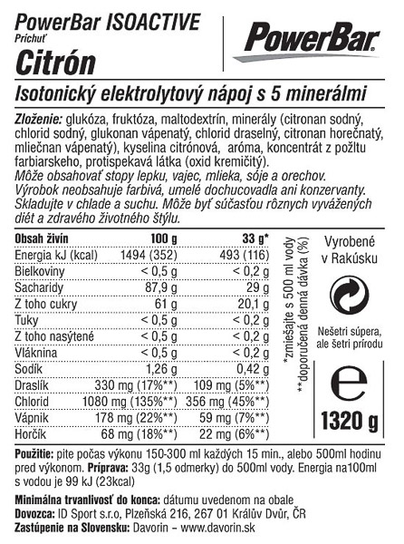 PowerBar IsoActive - izotonický športový nápoj 1320g Citrón