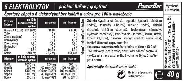 PowerBar 5 Elektrolytov 10 tabliet - Ružový Grepfruit