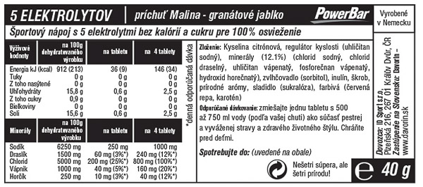 PowerBar 5 Elektrolytov 10 tabliet - Malina/Granátové jablko