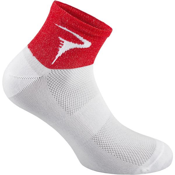 Pinarello Dots dámske ponožky Think Asymmetric biele/červené