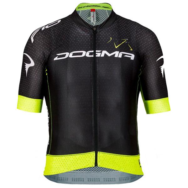 Pinarello F10 cyklistický dres čierny/žltý fluo