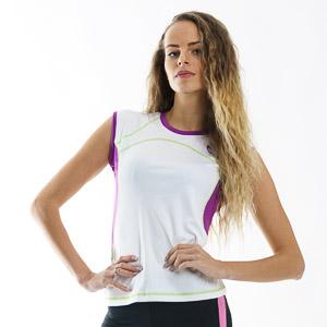 OneWay FARONA Dámske tričko bez rukávov biele/fialové