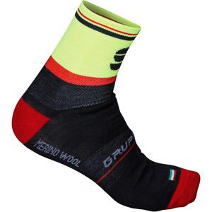 Sportful Gruppetto Wool 13 ponožky čierne/červené/žlté fluo