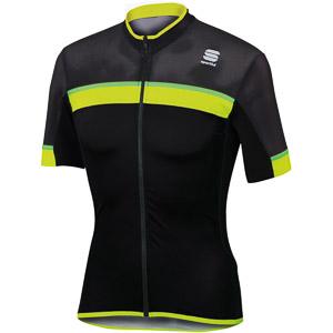 Sportful Pista cyklo dres krátky rukáv čierny/fluo žltý