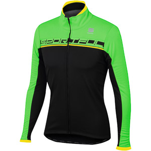 Sportful Giro Softshell cyklo bunda čierna/fluo zelená