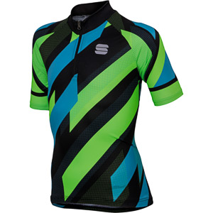 Sportful Volt detský cyklistický dres čierny/modrý/zelený