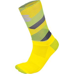 Sportful Bodyfit Team 15 Ponožky žlté fluo/svetložlté/tmavosivé