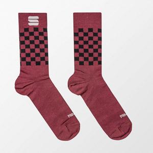 Sportful CHECKMATE WINTER ponožky tmavočervené/čierne