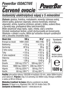 PowerBar IsoActive – izotonický športový nápoj 1320g č.ovocie
