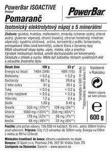 PowerBar IsoActive - izotonický športový nápoj 600g Pomaranč