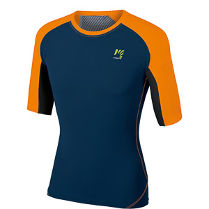 Karpos LAVAREDO Tričko tmavomodré/oranžové fluo
